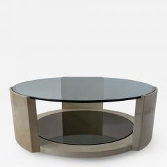 Dominique French Modern Parchment and Glass Coffee Table - 1017771