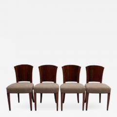 Dominique Set Of Four Fine French Art Deco Walnut Chairs By Dominique    549289