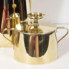 Dorlyn Silversmiths Tommi Parzinger for Dorlyn Silversmiths Coffee Tea Service in Brass and Walnut - 1560918