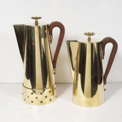 Dorlyn Silversmiths Tommi Parzinger for Dorlyn Silversmiths Coffee Tea Service in Brass and Walnut - 1560932