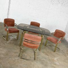Douglas Furniture Modern double tube brass plate cantilever chairs smoked glass top table - 2066090