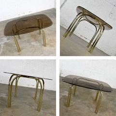 Douglas Furniture Modern double tube brass plate cantilever chairs smoked glass top table - 2066092