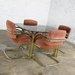 Douglas Furniture Modern double tube brass plate cantilever chairs smoked glass top table - 2066098