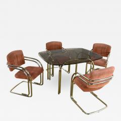 Douglas Furniture Modern double tube brass plate cantilever chairs smoked glass top table - 2069000