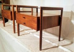 Drexel Drexel Heritage Furniture Pair of Walnut End Tables from the Parallel Line for Drexel 1960s - 1813181
