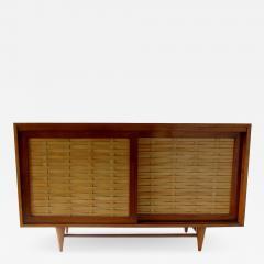 Dunbar American Modern Walnut and Birch 2 Door Woven Front Cabinet Dunbar - 1197789