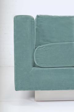 Dunbar Dunbar Velvet Tuxedo Sofa on Chrome Base Edward Wormley 1960s - 1316134