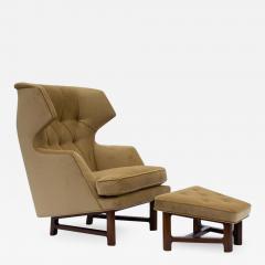 Dunbar Edward Wormley for Dunbar Janus Wing Back Lounge Chair Ottoman Model 5761 - 2098117