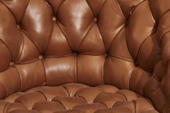 Dunbar Edward Wormley for Dunbar Tufted Brown Leather Desk Chair - 1887117