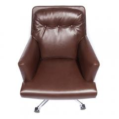 Dunbar Leather and Chrome Executive Swivel Chair by Dunbar Circa 1960s - 475205