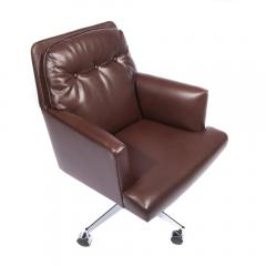 Dunbar Leather and Chrome Executive Swivel Chair by Dunbar Circa 1960s - 475206