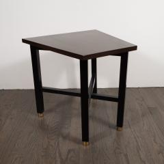 Dunbar Mid Century Modern Trapezoidal Walnut Side Table with Brass Sabots by Dunbar - 1522638