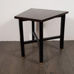 Dunbar Mid Century Modern Trapezoidal Walnut Side Table with Brass Sabots by Dunbar - 1522642