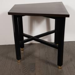 Dunbar Mid Century Modern Trapezoidal Walnut Side Table with Brass Sabots by Dunbar - 1522647