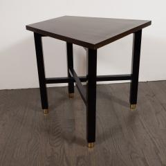 Dunbar Mid Century Modern Trapezoidal Walnut Side Table with Brass Sabots by Dunbar - 1522683