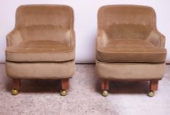 Dunbar Pair of Lounge Chairs in Mahogany and Velvet by Edward Wormley for Dunbar - 1207978