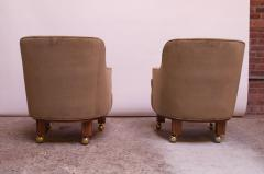 Dunbar Pair of Lounge Chairs in Mahogany and Velvet by Edward Wormley for Dunbar - 1207985