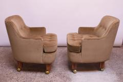 Dunbar Pair of Lounge Chairs in Mahogany and Velvet by Edward Wormley for Dunbar - 1207999