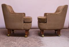Dunbar Pair of Lounge Chairs in Mahogany and Velvet by Edward Wormley for Dunbar - 1208001