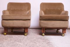 Dunbar Pair of Lounge Chairs in Mahogany and Velvet by Edward Wormley for Dunbar - 1208003