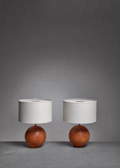 Dyrlund Dyrlund pair of globe shaped teak table lamps Denmark - 1168155