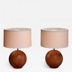 Dyrlund Dyrlund pair of globe shaped teak table lamps Denmark - 1168291
