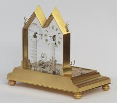 E Langerock c 1873 French Gilt and Silvered Bronze Mystery Desk Inkwell Compendium - 1233507