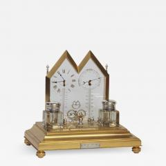 E Langerock c 1873 French Gilt and Silvered Bronze Mystery Desk Inkwell Compendium - 1234557