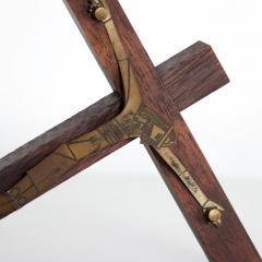 EMAUS Mid Century Modern Wood Sculptured Brass Cross by Emaus Mexico - 1233412
