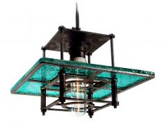 Early Electrics LLC Skeletal Industrial Blue Wire Glass Pendant Lamps - 641602