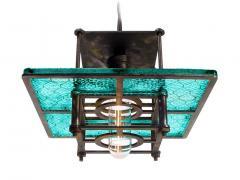 Early Electrics LLC Skeletal Industrial Blue Wire Glass Pendant Lamps - 641603