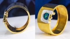 Ebel 1970s Ebel 18Kt Gold Platinum Diamond Set Opal Cuff Bangle Bracelet Watch - 1113266