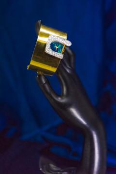 Ebel 1970s Ebel 18Kt Gold Platinum Diamond Set Opal Cuff Bangle Bracelet Watch - 1113268