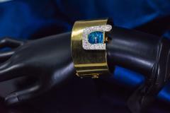 Ebel 1970s Ebel 18Kt Gold Platinum Diamond Set Opal Cuff Bangle Bracelet Watch - 1113269