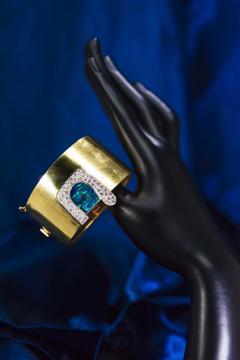 Ebel 1970s Ebel 18Kt Gold Platinum Diamond Set Opal Cuff Bangle Bracelet Watch - 1113271