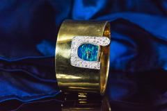 Ebel 1970s Ebel 18Kt Gold Platinum Diamond Set Opal Cuff Bangle Bracelet Watch - 1113277