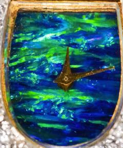 Ebel 1970s Ebel 18Kt Gold Platinum Diamond Set Opal Cuff Bangle Bracelet Watch - 1113278