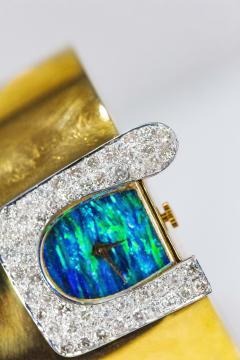 Ebel 1970s Ebel 18Kt Gold Platinum Diamond Set Opal Cuff Bangle Bracelet Watch - 1113280