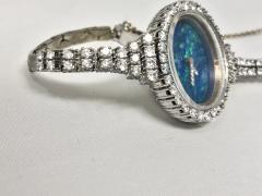 Ebel Gorgeous 1970s Opal Ebel w 3 Carats 18kt White Gold Opal Diamond Set Watch - 518759