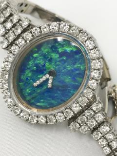 Ebel Gorgeous 1970s Opal Ebel w 3 Carats 18kt White Gold Opal Diamond Set Watch - 518760