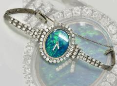 Ebel Gorgeous 1970s Opal Ebel w 3 Carats 18kt White Gold Opal Diamond Set Watch - 518888