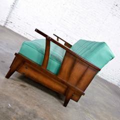 Economy Furniture A brandt ranch oak style turquoise vinyl convertible sofa daybed - 2130266