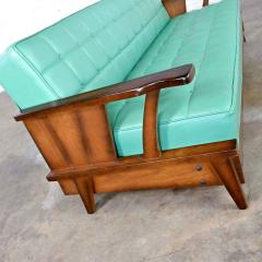 Economy Furniture A brandt ranch oak style turquoise vinyl convertible sofa daybed - 2130268
