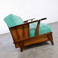 Economy Furniture A brandt ranch oak style turquoise vinyl convertible sofa daybed - 2130271