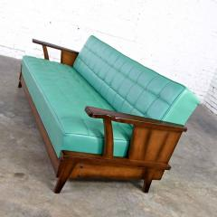 Economy Furniture A brandt ranch oak style turquoise vinyl convertible sofa daybed - 2130272