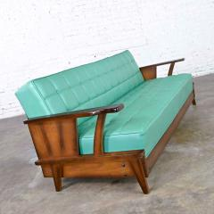 Economy Furniture A brandt ranch oak style turquoise vinyl convertible sofa daybed - 2130273