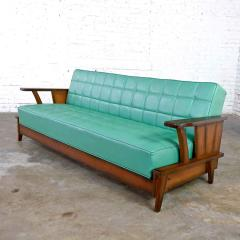 Economy Furniture A brandt ranch oak style turquoise vinyl convertible sofa daybed - 2130274