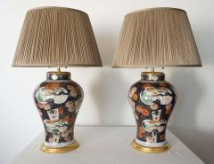 Edme Samson et Cie Pair of Samson Imari Lamps Mallett London - 1405342