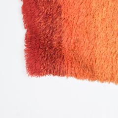Ege Rya Vibrant Orange Ornamental Rya Rug Tapestry Denmark 1960s Scandinavian Modern - 1909234