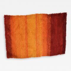 Ege Rya Vibrant Orange Ornamental Rya Rug Tapestry Denmark 1960s Scandinavian Modern - 1909692